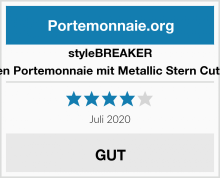 styleBREAKER Damen Portemonnaie mit Metallic Stern Cut-Outs Test